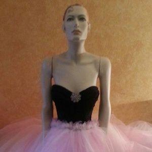 DEBORAH Pink & Black Corset Tulle Wedding Ballgown
